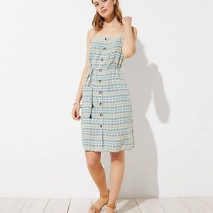 LOFT Women's Beach Mosaic Button Down Midi Dress